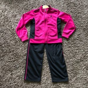 Nike Girls Pink and Black Tracksuit, size 6x-7.